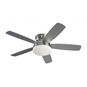 "Monte Carlo 52"" Traverse Semi-Flush Ceiling Fan in Brushed Steel"