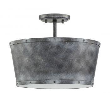 "Savoy House Dover 15"" 3-Light Semi-Flush in Farmhouse Tin"