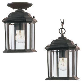 Sea Gull Lighting Kent 1-Light Outdoor Semi-Flush Convertible Pendant in Black