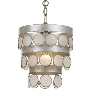 """Crystorama Coco 12"""" Mini Chandelier in Antique Silver with Capiz Shell Crystals"""