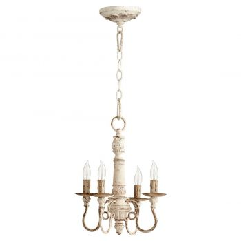 "Quorum International Salento 4-Light 15"" Transitional Chandelier in Persian White"