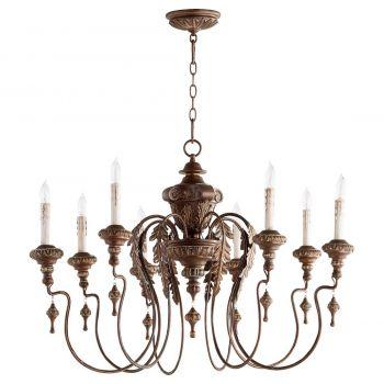 "Quorum Salento 38"" 8-Light Chandelier in Vintage Copper"