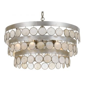 """Crystorama Coco 6-Light 12"""" Coastal Chandelier in Antique Silver with Capiz Shell Crystals"""