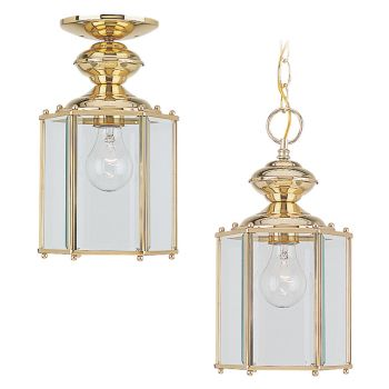 Sea Gull Lighting Classico 1-Light Outdoor Semi-Flush Convertible Pendant in Polished Brass