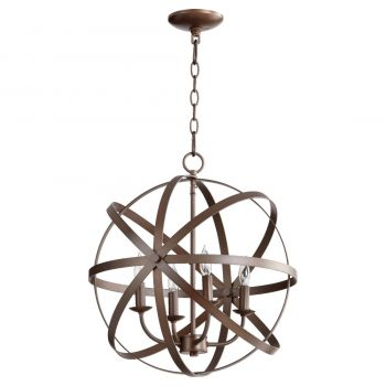 "Quorum Celeste 19"" 4-Light Chandelier in Oiled Bronze"