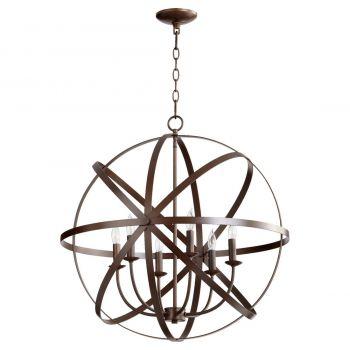 "Quorum Celeste 25.5"" 6-Light Chandelier in Oiled Bronze"