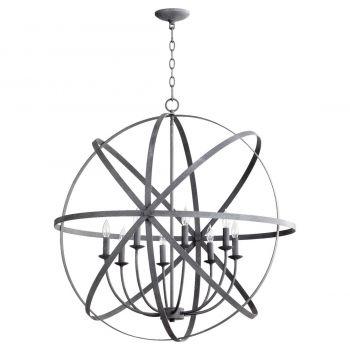 """Quorum Celeste 33"""" 8-Light Chandelier in Zinc"""