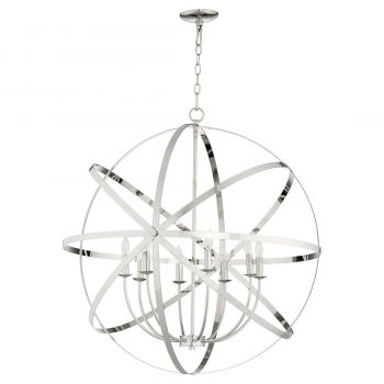 "Quorum Celeste 33"" 8-Light Chandelier in Polished Nickel"