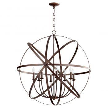 "Quorum Celeste 33"" 8-Light Chandelier in Oiled Bronze"