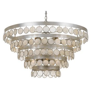 """Crystorama Coco 9-Light 19"""" Coastal Chandelier in Antique Silver with Capiz Shell Crystals"""