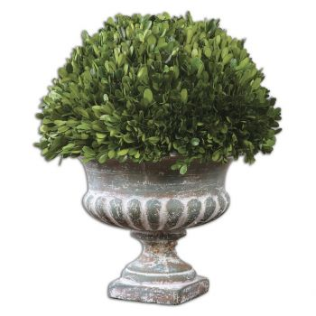 "Uttermost Preserved Boxwood 17.25"" Garden Ceramic Urn in Stone Gray"