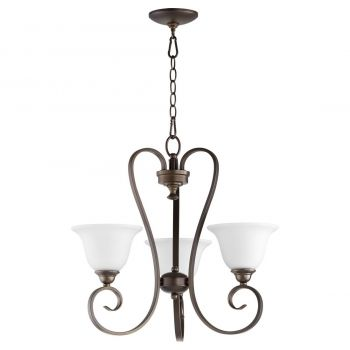 "Quorum International Celesta 3-Light 21"" Transitional Chandelier in Oiled Bronze with Satin Opal"