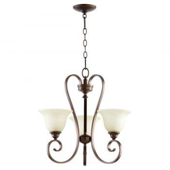 "Quorum Celesta 21.25"" 3-Light Chandelier in Oiled Bronze"