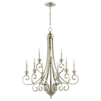 "Quorum International Bryant 9-Light 36"" Transitional Chandelier in Aged Silver Leaf"
