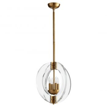 "Quorum Broadway 16"" 4-Light Chandelier in Aged Brass"