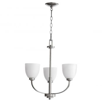 "Quorum International Reyes 3-Light 22"" Transitional Chandelier in Classic Nickel"