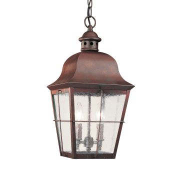 Sea Gull Lighting Chatham 2-Light Outdoor Pendant in Weathered Copper