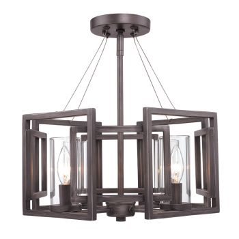 Golden Lighting Marco Semi-Flush (Convertible) in Gunmetal Bronze w/ Clear Glass