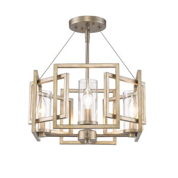 Golden Lighting Marco Semi-Flush (Convertible) in White Gold w/ Clear Glass