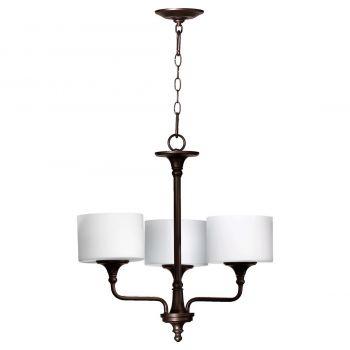 """Quorum Rockwood 22"""" 3-Light Chandelier in Oiled Bronze"""