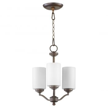 "Quorum International Atwood 3-Light 18"" Transitional Chandelier in Oiled Bronze with Satin Opal"