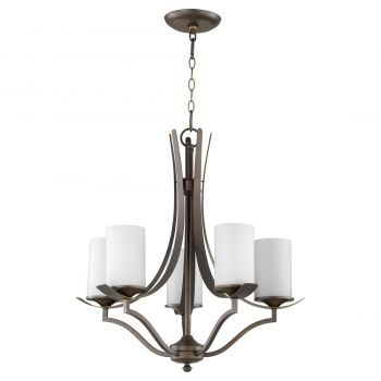 """Quorum International Atwood 5-Light 26"""" Transitional Chandelier in Oiled Bronze with Satin Opal"""