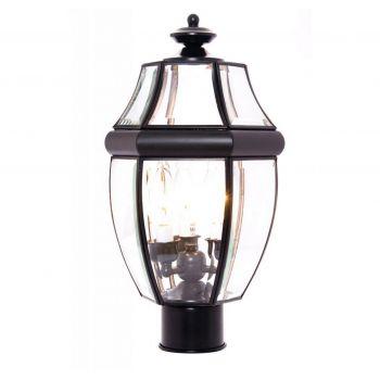 "Maxim Lighting South Park 18.5"" 3-Light Outdoor Post Lantern in Black"