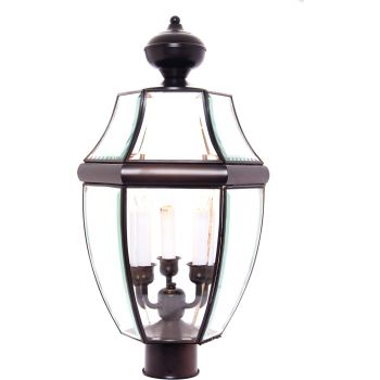 """Maxim Lighting South Park 23.5"""" 3-Light Outdoor Post Lantern in Burnished"""