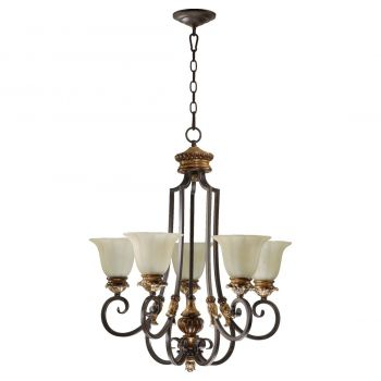 """Quorum Capella 25.5"""" 5-Light Chandelier in Toasted Sienna/Golden Fawn"""