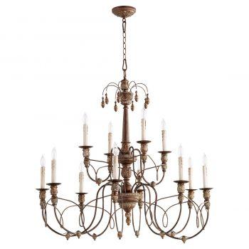 "Quorum Salento 39"" 12-Light Chandelier in Vintage Copper"