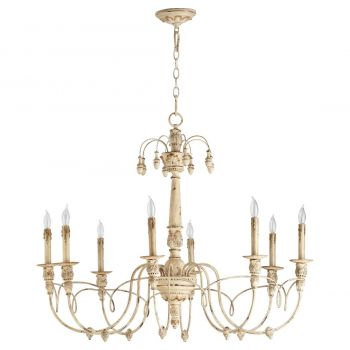 "Quorum International Salento 8-Light 30"" Transitional Chandelier in Persian White"