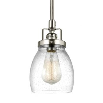 Sea Gull Lighting Belton Clear Seeded Mini Pendant in Brushed Nickel