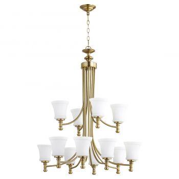 "Quorum Rossington 35.25"" 12-Light Chandelier in Aged Brass"