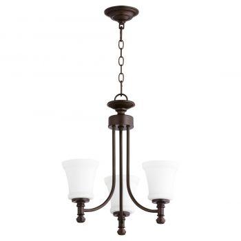 """Quorum Rossington 18"""" 3-Light Chandelier in Oiled Bronze"""