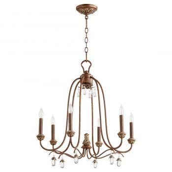"""Quorum Venice 24.5"""" 6-Light Chandelier in Vintage Copper"""