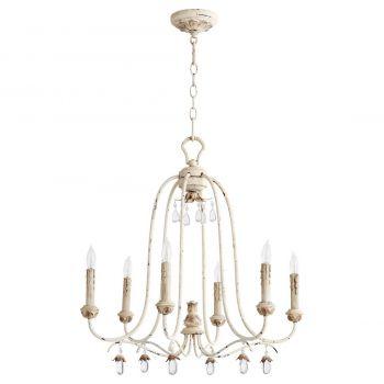 """Quorum Venice 24.5"""" 6-Light Chandelier in Persian White"""