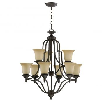 """Quorum Coventry 26.5"""" 9-Light Chandelier in Toasted Sienna"""