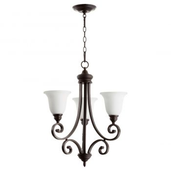 "Quorum International Bryant 3-Light 26"" Transitional Chandelier in Oiled Bronze with Satin Opal"