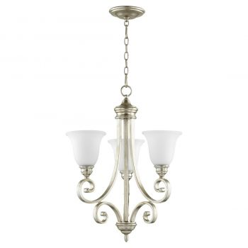 "Quorum International Bryant 3-Light 26"" Transitional Chandelier in Aged Silver Leaf"
