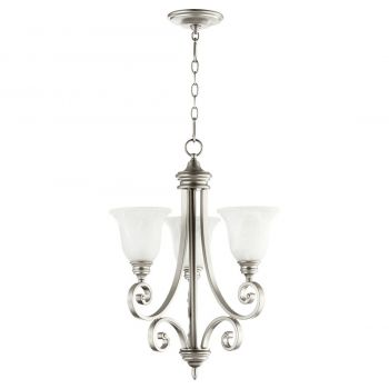 "Quorum International Bryant 3-Light 26"" Transitional Chandelier in Classic Nickel"
