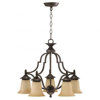 """Quorum Coventry 22"""" 5-Light Nook Chandelier in Toasted Sienna"""