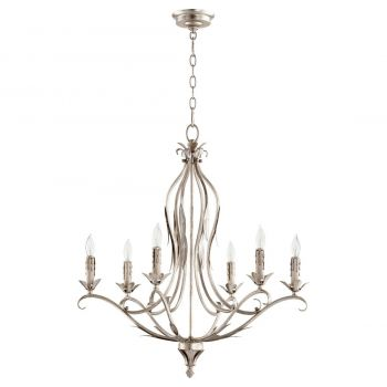 """Quorum International Flora 6-Light 29"""" Traditional Chandelier in Aged Silver Leaf with White Linen"""
