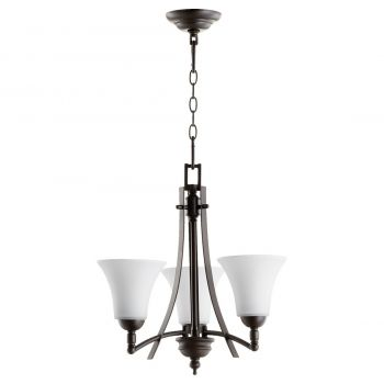 "Quorum International Aspen 3-Light 19"" Transitional Chandelier in Oiled Bronze with Satin Opal"