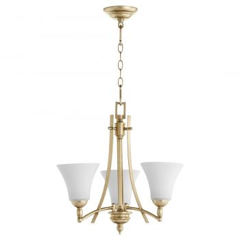 "Quorum International Aspen 3-Light 19"" Transitional Chandelier in Aged Silver Leaf with Satin Opal"