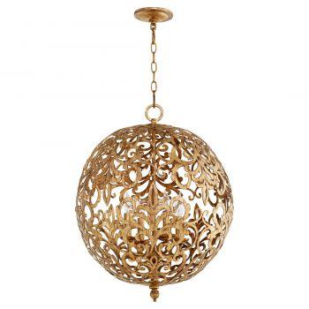 """Quorum Le Monde 20"""" 4-Light Chandelier in Vintage Gold Leaf"""