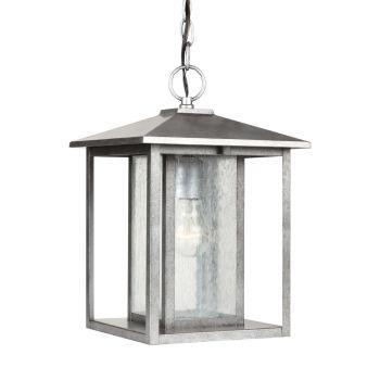 Sea Gull Lighting Hunnington 1-Light Outdoor Pendant in Weathered Pewter
