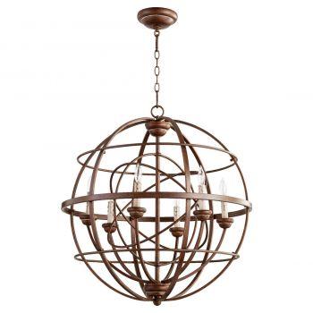 "Quorum Salento 26.75"" 6-Light Chandelier in Vintage Copper"