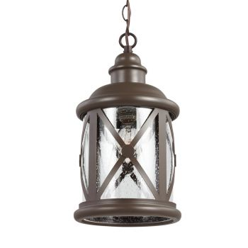 Sea Gull Lighting Lakeview 1-Light Outdoor Pendant in Antique Bronze