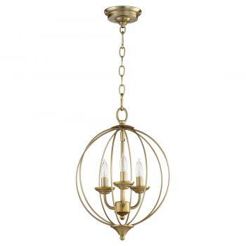 """Quorum Flora 12.75"""" 3-Light Chandelier in Aged Brass"""