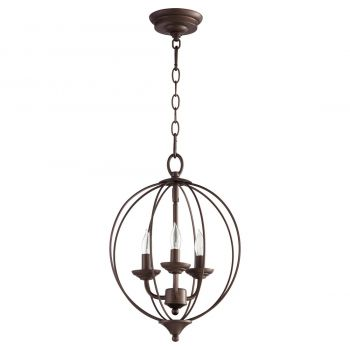 """Quorum Flora 12.75"""" 3-Light Chandelier in Oiled Bronze"""